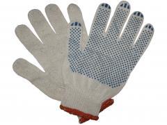 Перчатки трикотажные уплотненные с ПВХ точкой 3 нити